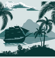tropical landscape view from the shore with palm vector image vector image