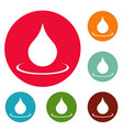 water drop icons circle set vector image