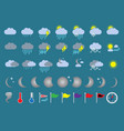 weather icons a asset with clouds rain and sun vector image