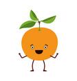 white background with caricature orange fruit vector image