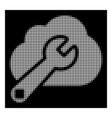 white halftone cloud options icon vector image