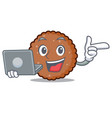 with laptop chocolate biscuit character cartoon vector image vector image