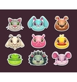 Cute cartoon animal face icons set vector image