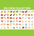 big set icons food flat style fruits vegetables vector image