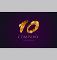 10 ten gold golden number numeral digit logo icon vector image vector image