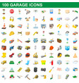 100 garage icons set cartoon style vector image vector image