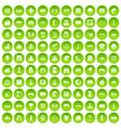 100 landscape element icons set green circle vector image vector image