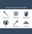 6 holiday icons vector image vector image