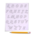 alphabet on page with yellow pencil vector image