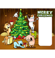 animals celebrate Christmas - xmas card vector image