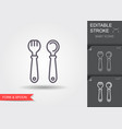baby spoon and fork line icon with editable vector image