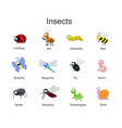 big set with cute cartoon insects insects vector image