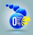 blue circles zero percent banner vector image vector image
