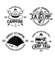camping and outdoors set four vintage vector image vector image