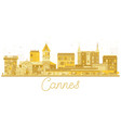 cannes france city skyline golden silhouette vector image vector image
