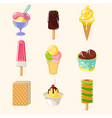 cartoon colorful tasty ice creams set vector image