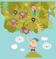 cartoon little boy feeding monkeys with bananas vector image vector image