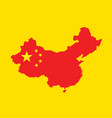 china map with china flag inside vector image vector image