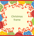 Christmas ornaments and ribbons frame space