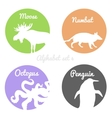 Color animals silhouettes labels in colorful vector image vector image