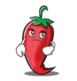 confused red chili character cartoon vector image vector image