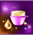 cream jar with a drop and glares for vector image vector image