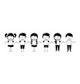 cute group kids holding hands vector image vector image