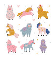 cute llamas and unicorns set adorable animals vector image