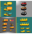 Digital orange and red auto car icon set vector image