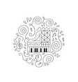 doodle piano coloring page vector image