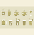 drinks and beverage monotone icon set vector image vector image