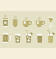 drinks and beverage monotone icon set vector image