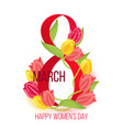 eight march happy womens day card design vector image