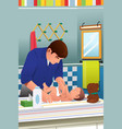 father changing a diaper vector image
