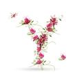 Floral letter Y for your design vector image
