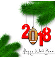 football ball and 2018 on a christmas tree branch vector image vector image