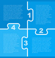 four blue piece puzzle infographic 4 step vector image vector image