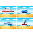 Four types of ships on the sea vector image