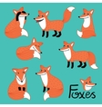 Funny fox hand drawn characters set vector image