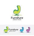 furniture logo design vector image vector image