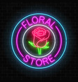glowing neon sign of floral store in round frames vector image