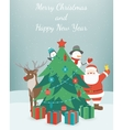 Greeting Christmas and New Year card Merry vector image