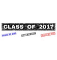 grunge class of 2017 scratched rectangle stamp vector image vector image
