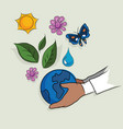 hand holding globe ecology mother earth concept vector image