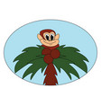 happy monkey on tree on white background vector image vector image