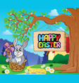 image with easter bunny and sign 5 vector image vector image