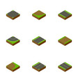isometric road set of unilateral road rotation vector image vector image
