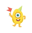 Jelly Bean Friendly Monster With Flag vector image vector image
