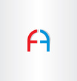 letter f and letter a logo icon vector image