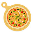 mediterranean pizza on a wooden board flat vector image vector image